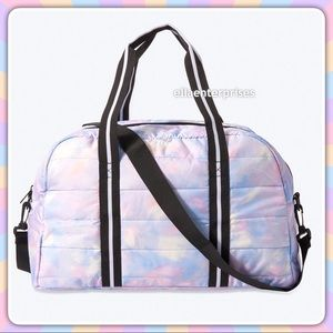 VS Pink Tie Dye Quilted Duffle Gym Tote Bag
